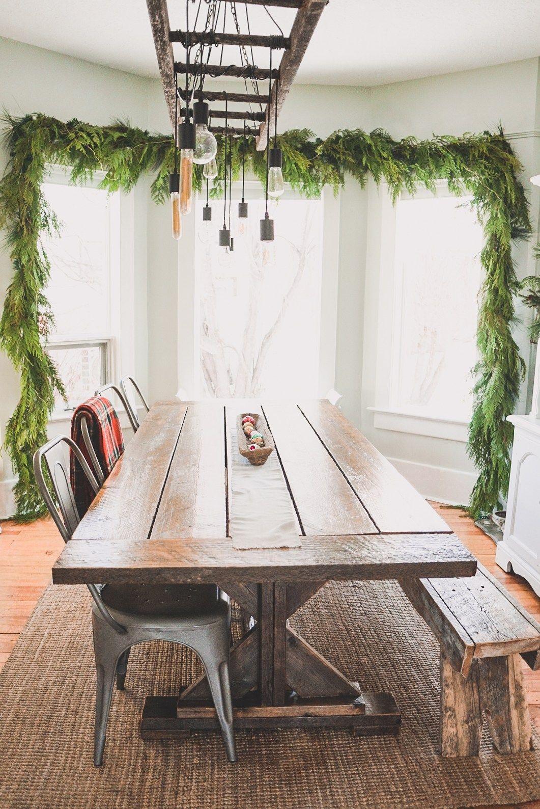 Simple Vintage Farmhouse Christmas Decor Ideas Natural Tree White ...