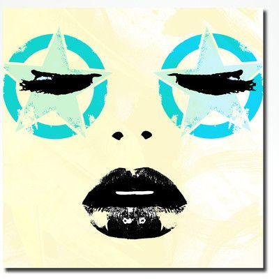 "Fluorescent Palace ""Star Struck"" Graphic Art on Canvas Size: 12"" H x 12"" W x 2"" D"