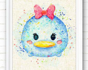 Tsum Tsum Point De Lilo Aquarelle Art Print Aquarelle Disney