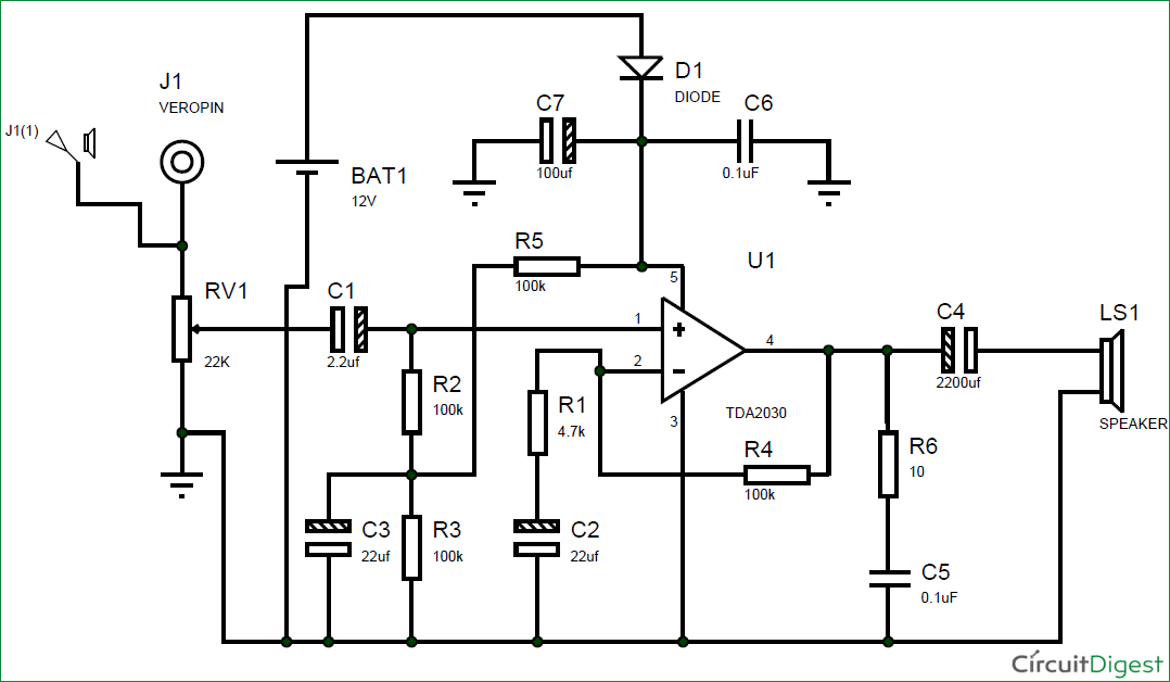 Circuit Diagram for Subwoofer Amplifier Using IC TDA2030
