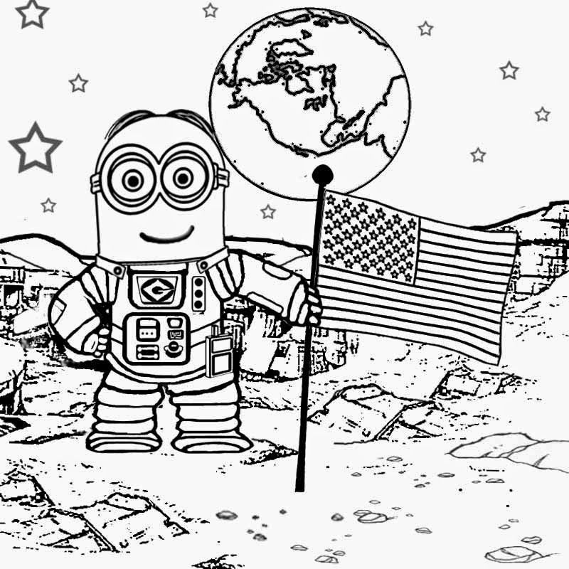 Walking On The Moon Astronaut Costume Space Man Dave Minion Coloring Pages To Print Despicable Me 2 Border