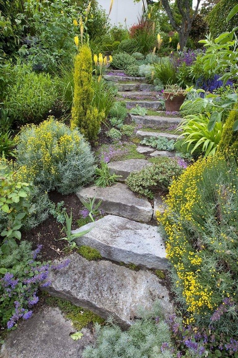 20 Awesome Diy Garden Pathway Steps On A Slope Sloped Garden Sloped Backyard Garden Pathway