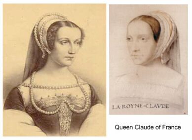 Queen Claude of France, wife of Francis 1st. Born 13th October 1499, died 20th July 1524.    After leaving Mechelen in Belgium, Anne Boleyn travelled to France where she spent her teenage years as Maid of Honour to Queen Claude. They resided mainly at the chateau of Amboise in the Loire Valley.