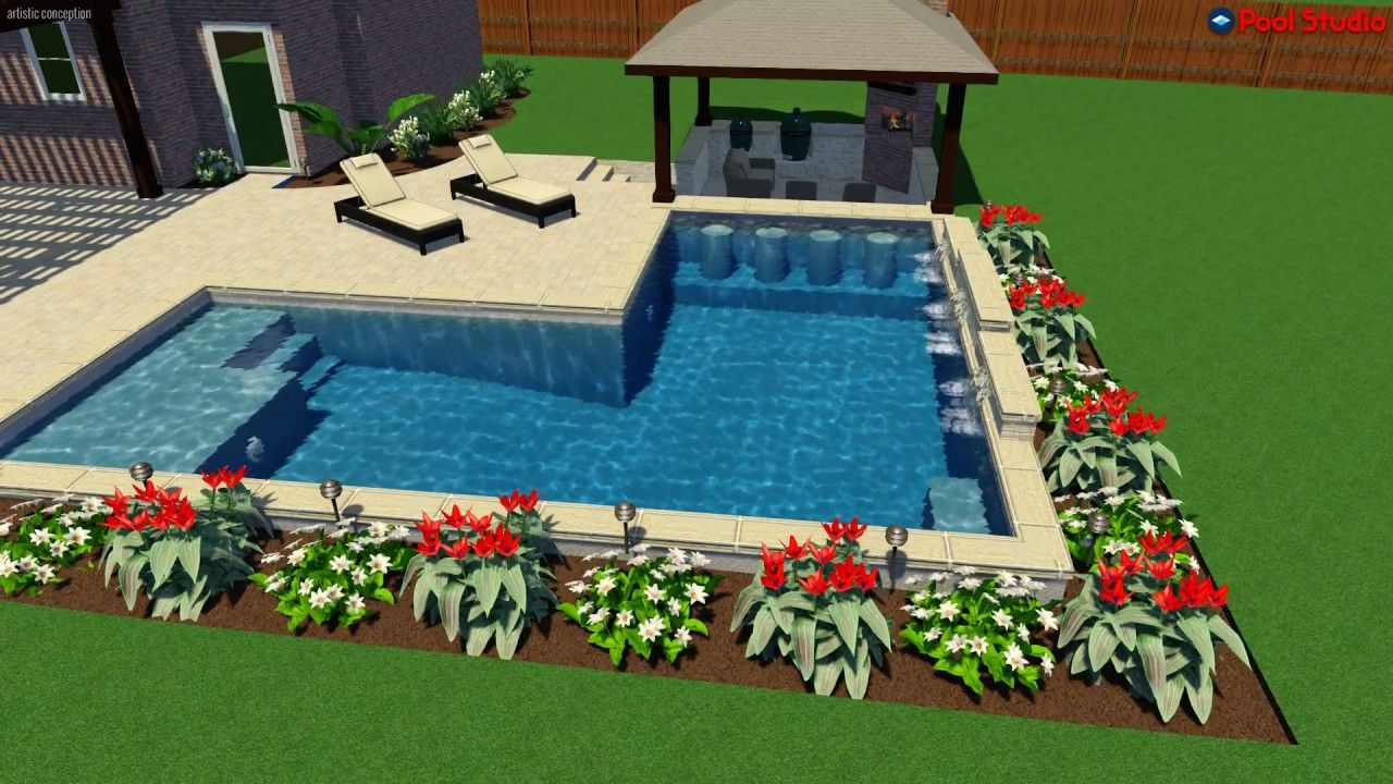 L Shaped Pool With Swim Up Bar And Sunk In Outdoor Living Youtube Backyard Pool Designs Pool Patio Swimming Pools Backyard