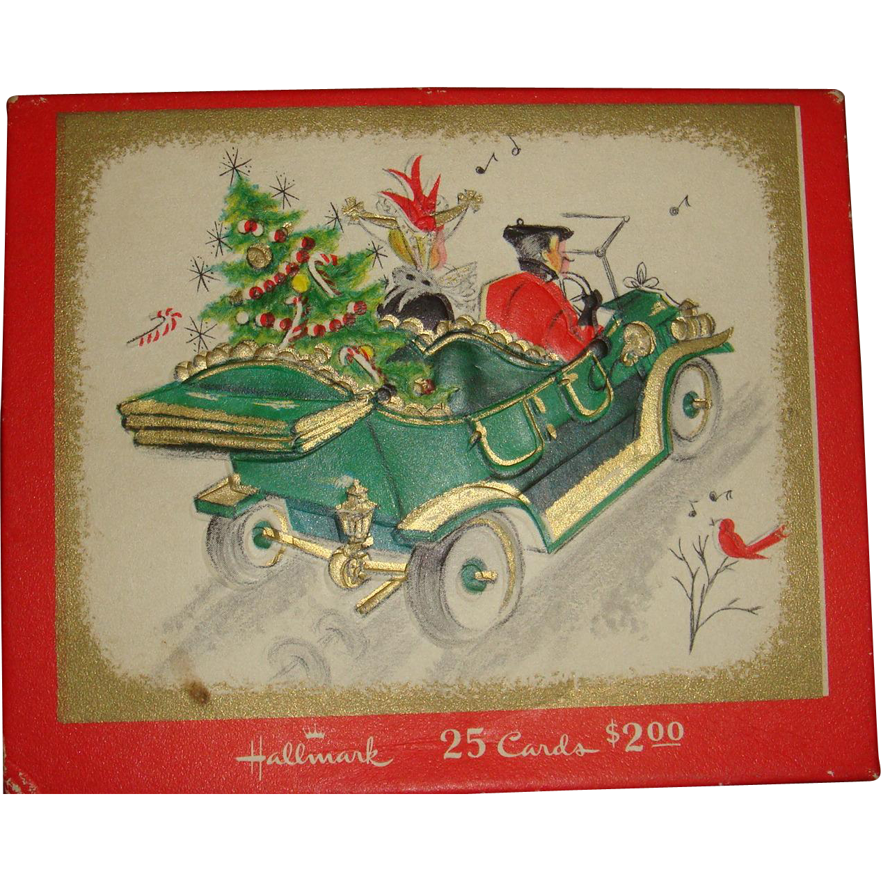 Vintage Hallmark Christmas Card Box Downton Abbey Style Cover