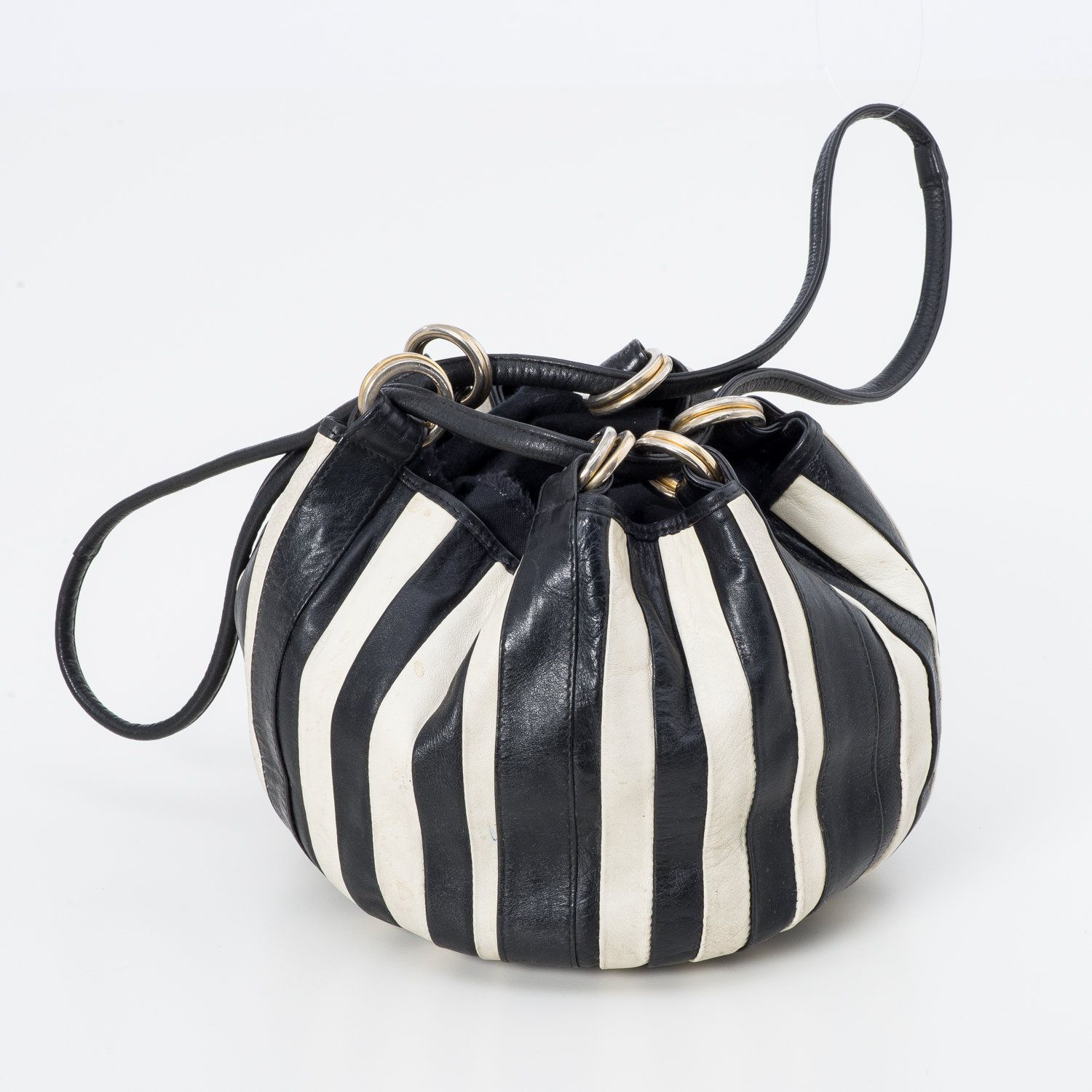 1980's Vintage Black and White Striped Leather Hobo Bucket