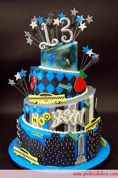 Superb 13Th Topsy Turvy Nyc Themed Cake Birthday Cakes With Images Funny Birthday Cards Online Inifodamsfinfo