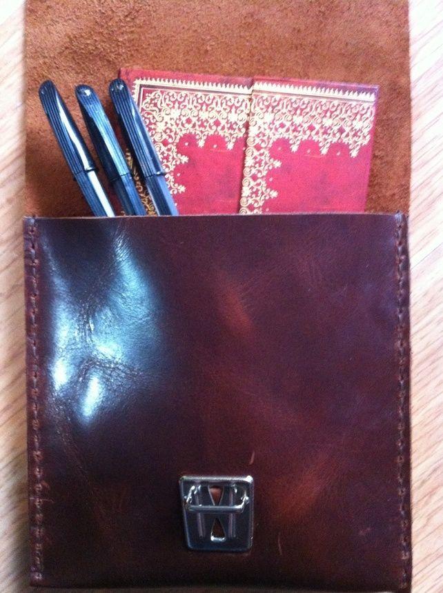 Slimline brown leather pencil case brush case £16.49