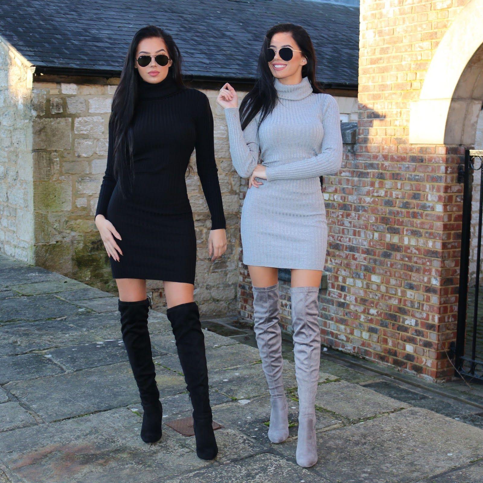 Black V Grey Laura Badura Fashion And Beauty Fashion Stunning Outfits Black Thigh High Boots [ 1600 x 1600 Pixel ]