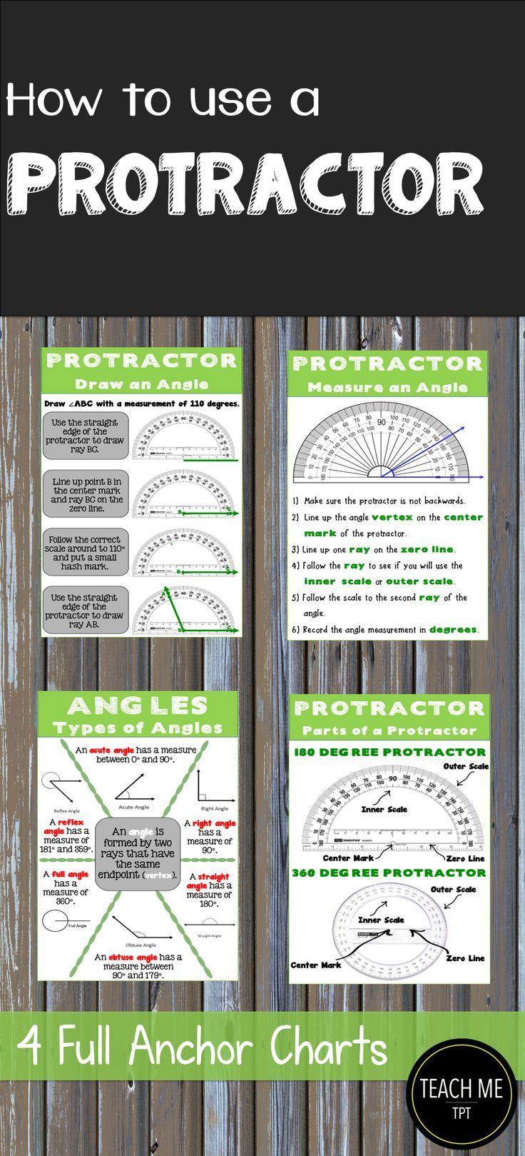 Anchor charts cheat sheet angles and protractors
