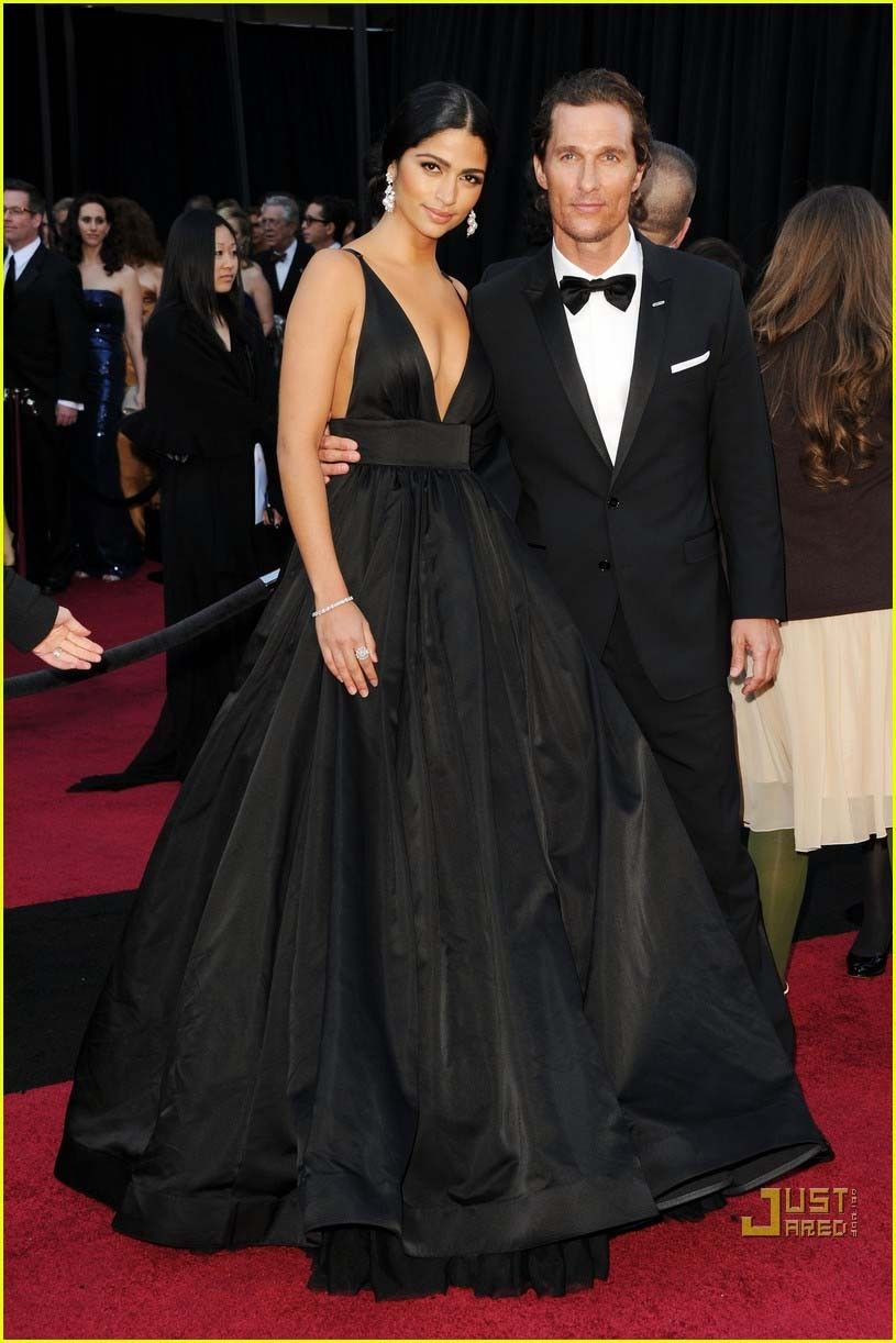 Camila alves oscar black vneck formal dress red carpet ball