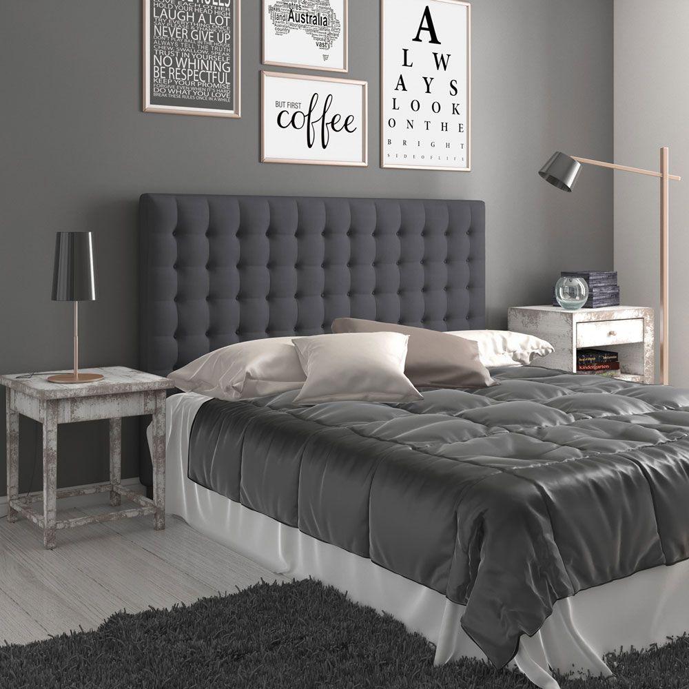 Buy Luxo Domitia Fabric Upholstered Headboard King Charcoal