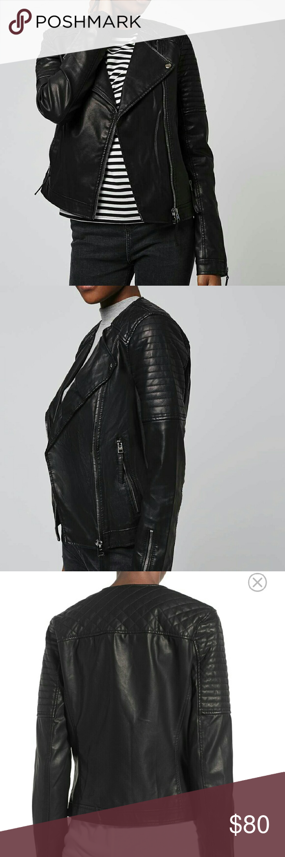 Topshop Quilted Faux Leather Biker Jacket Brand new. NWT.  4P US (Fits 0-2) Topshop Jackets & Coats