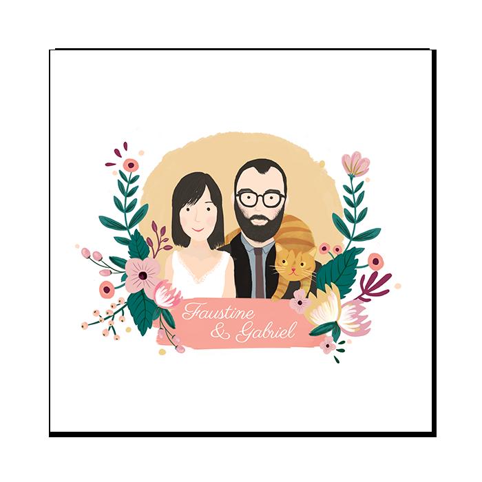 Portrait – invitation de mariage illustrée