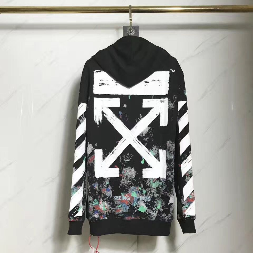 Ow Off White Galaxy Brushed Over Hoodie With Diagonals Sweatshirt Offwhite Galaxy Hoodie Offwhitehoodie Sweatshirt Off White Hoodie Hoodies White Outfits