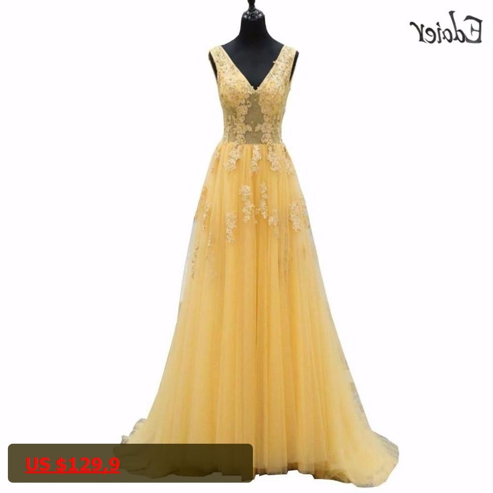 Vestido de festa yellow prom dresses long a line vneck beaded