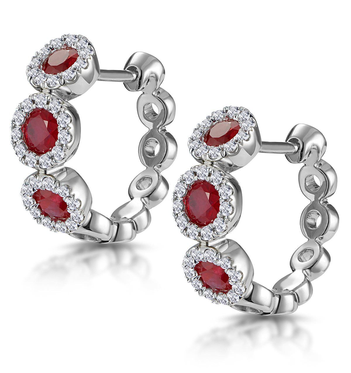 3429f05d05d25 Ruby and Diamond Trilogy Earrings 18K White Gold - Asteria ...