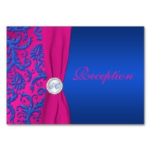 Images Of Royal Blue And Hot Pink Wedding Invitations Monogram Cobalt Fuchsia Damask Enclosure Card