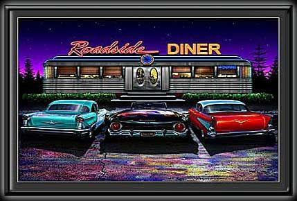 Roadside Diner Mini Led Lighted Poster Automobile