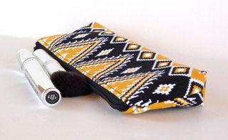 Aztec Slim Makeup Bag Brush Bag Pencil Pouch by nangatesdesigns