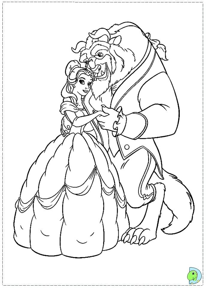 The Beauty And The Beast Coloring Page Dinokids Org Disney