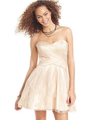 974aaa827d931 Roberta Juniors Dress, Strapless Tulle - Juniors Dresses - Macy's ...