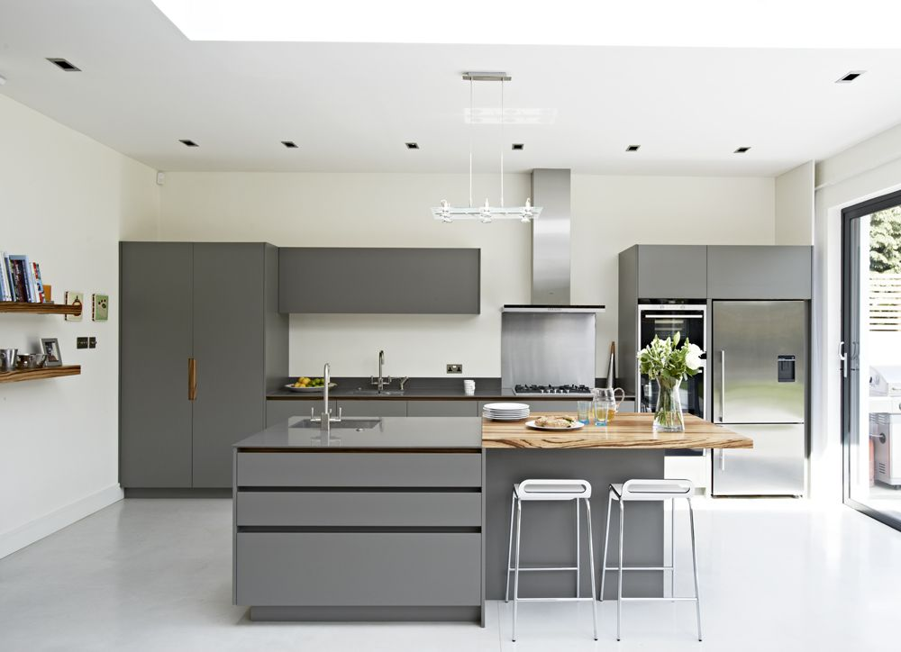 Roundhouse Urbo Grey Matt Lacquer Bespoke Kitchen With Zebrano - Grey kitchens 2016