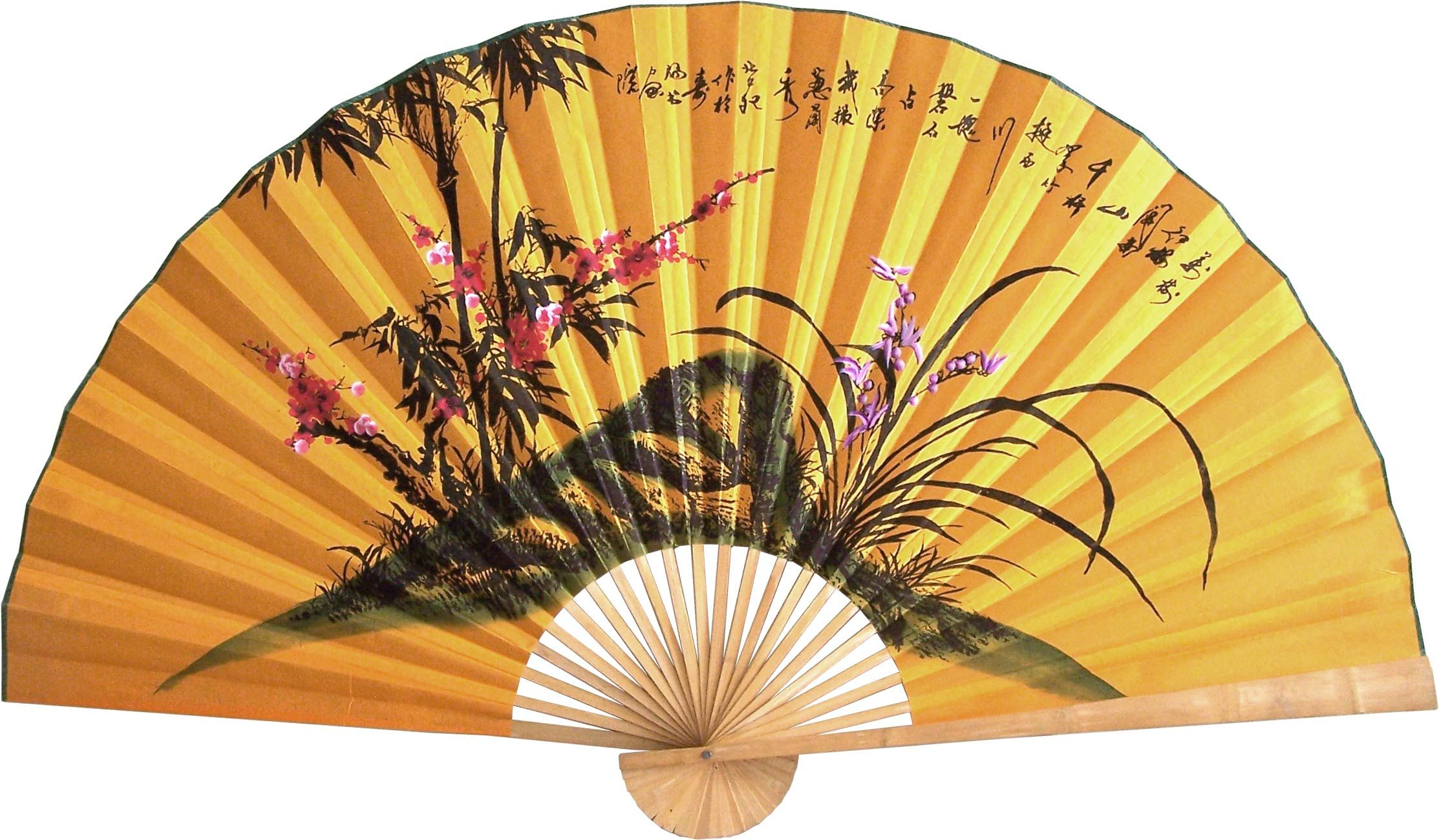 Vintage Large Black Asian Fan Wall Decor, Hand Painted XL 68 ...