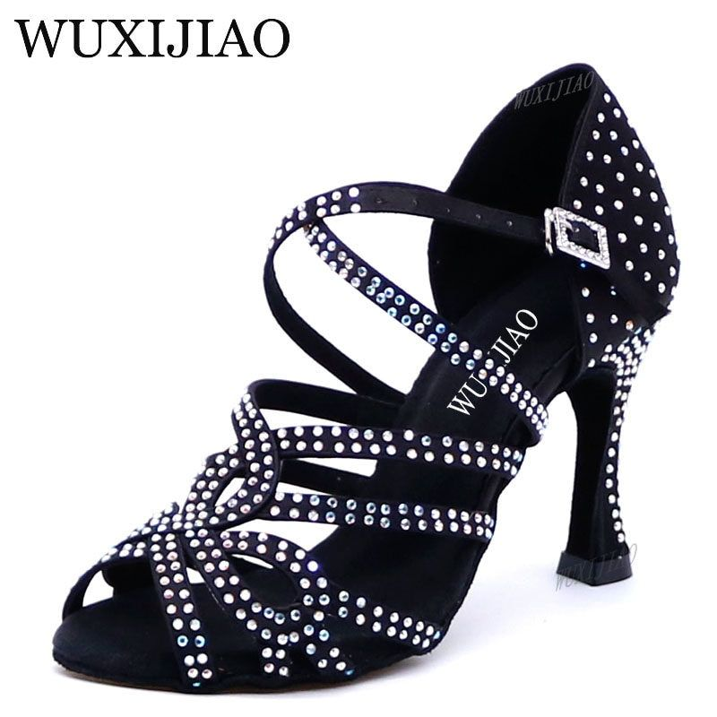 12486e5d0 Samisoler Glitter Rhinestone Latin Dance Shoes Women Satin Salsa Dancing  Shoes For Woman Tango Jazz Ballroom