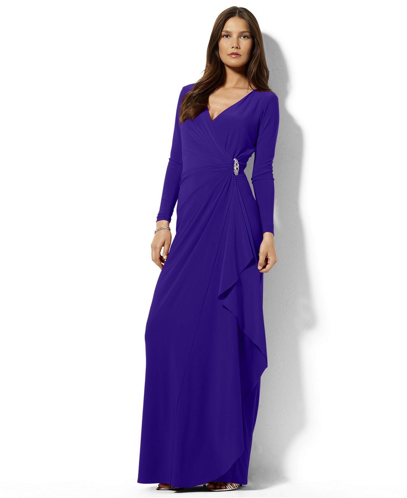 8b0220d7ea Lauren Ralph Lauren Petite Dress, Long-Sleeve Draped Jersey Gown - Womens  Petite Dresses - Macy's