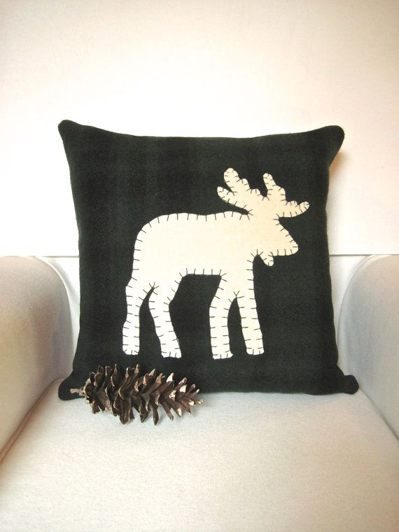 Rustic Home Decor Moose Pillow Woodland Christmas Rustic Pillow New Cabin Decor Throw Pillows