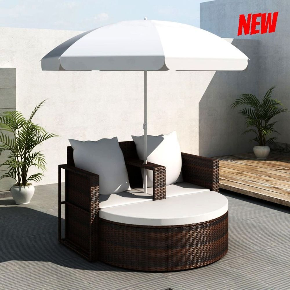 Patio Sets Clearance Garden Rattan Lounge With Parasol Sofa Seat Outdoor Wicker Clearance Patio Furniture Brown Outdoor Furniture Patio Furniture Cushions