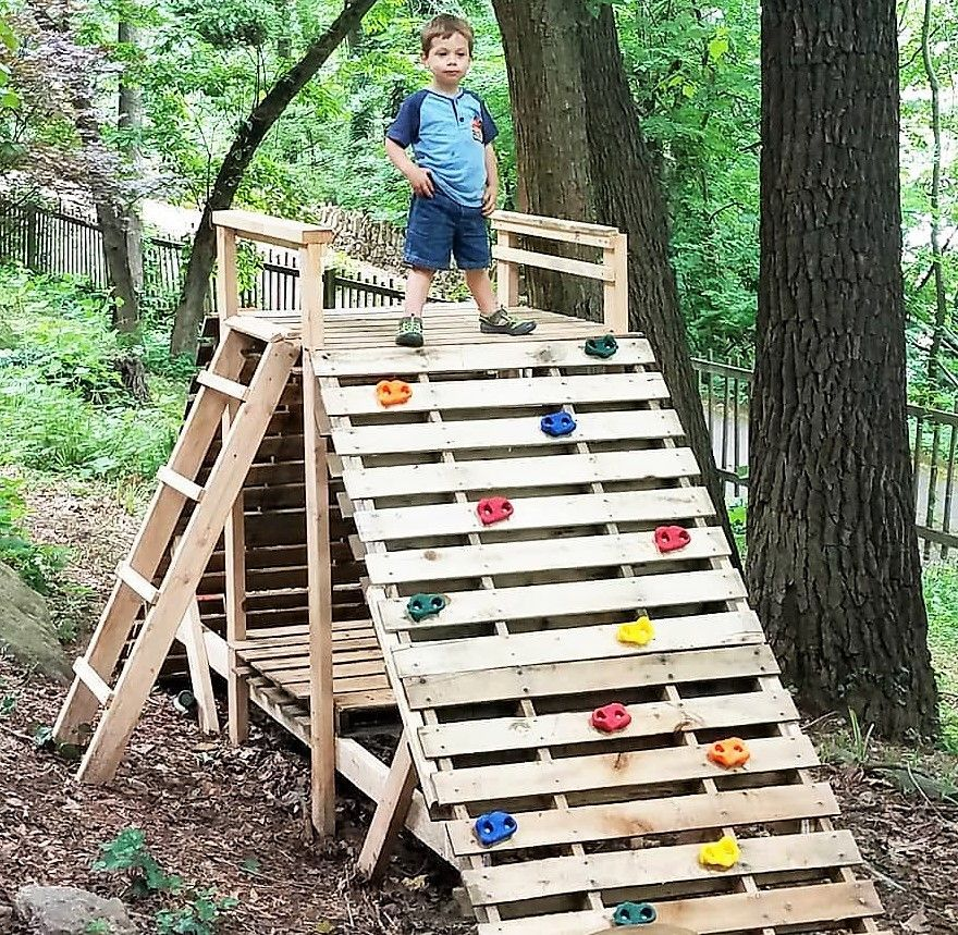 kids play slide made with used wood pallets | Pallet ...