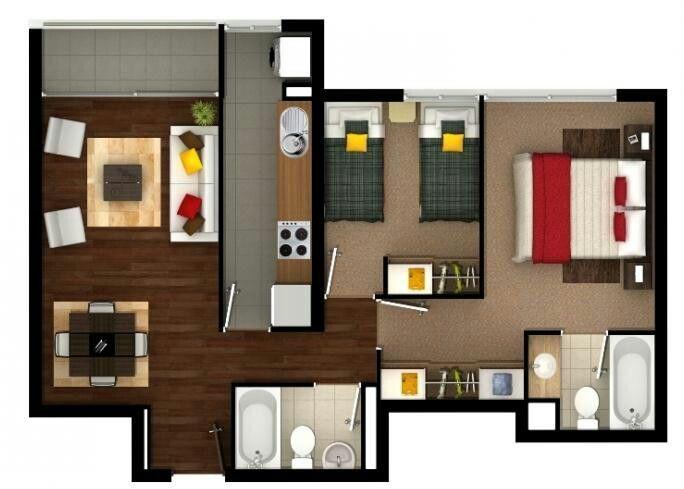 Apartamento pequeno moderno Arquitetura Pinterest Planos - departamento de soltero moderno pequeo