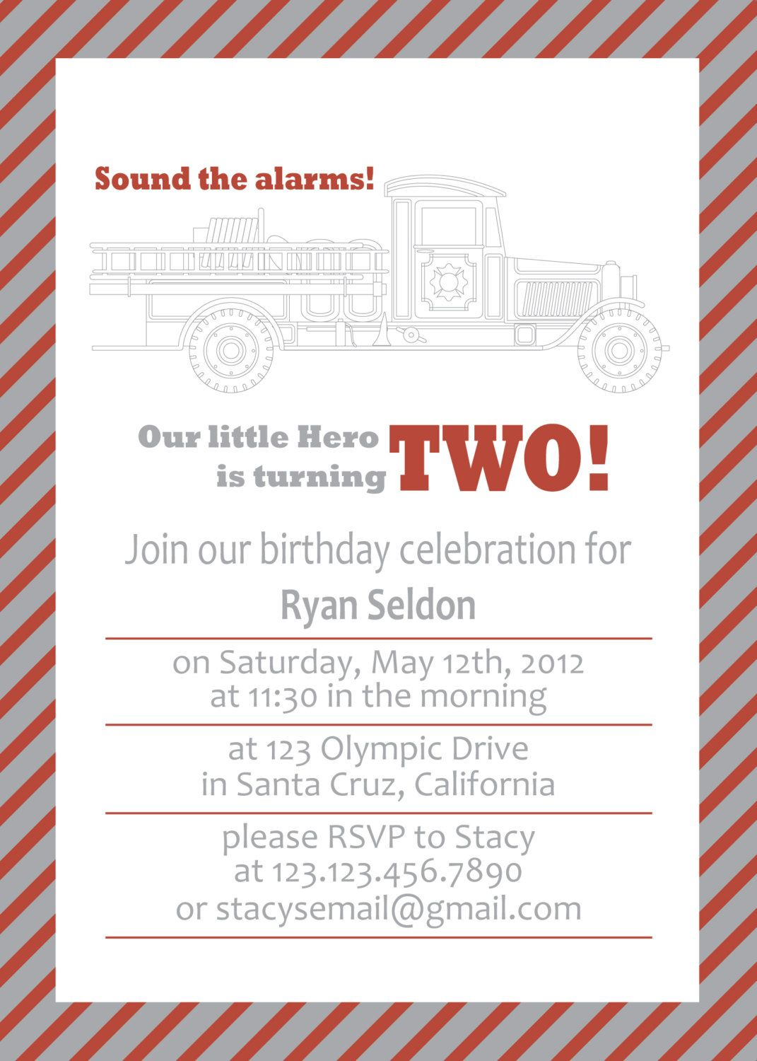 Fire Truck Birthday Invitation. (wording) | Birthday- Fire Truck ...