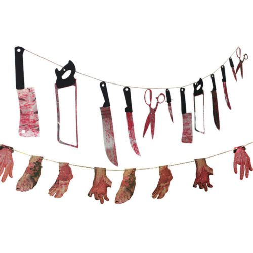 Details about Happy Halloween Props Blooding Knife Hanging Decor - halloween props decor