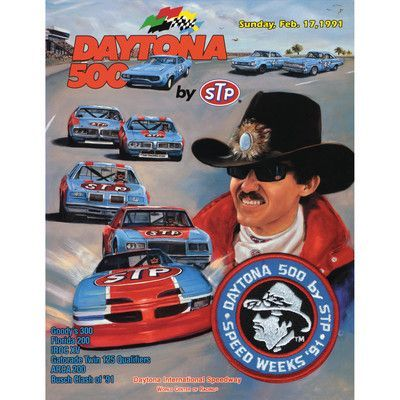 Mounted Memories NASCAR Daytona 500 Program Vintage Advertisement on Canvas Race Year: 33rd Annual - 1991