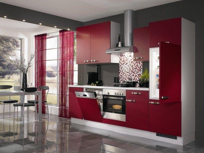 Cuisine rouge et grise qui incarne l\'idée d\'une vie moderne ...