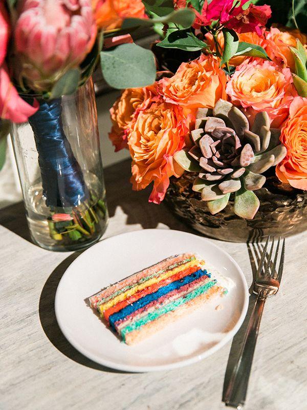 colorful cake slice - photo by Rachel Solomon Photography…