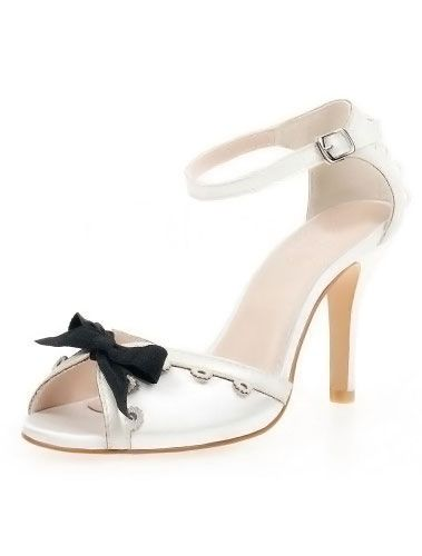 White Peep Toe Sweet Bow Silk and Satin Dress Sandals