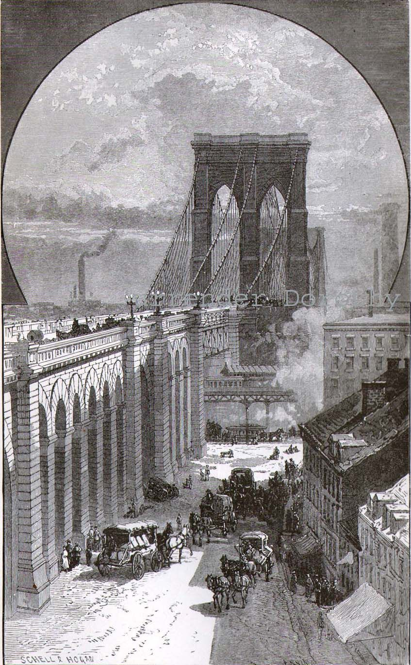 A Unique View Of Brooklyn Ny In 1886 The East River Bridge