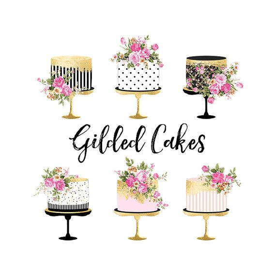 Valentine Cake Clipart, Gold Foil Cake Clipart, Shabby Chic ...