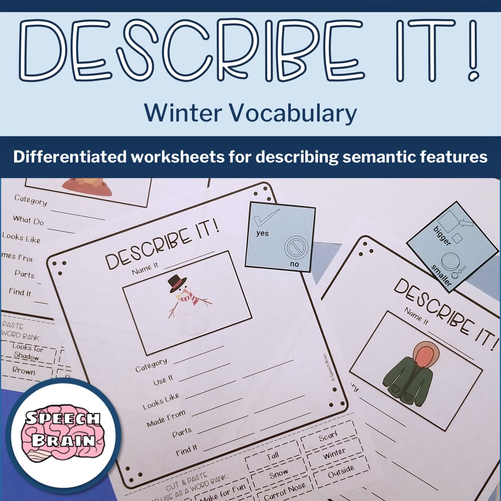 Describing Winter Vocabulary No Prep Semantic Features