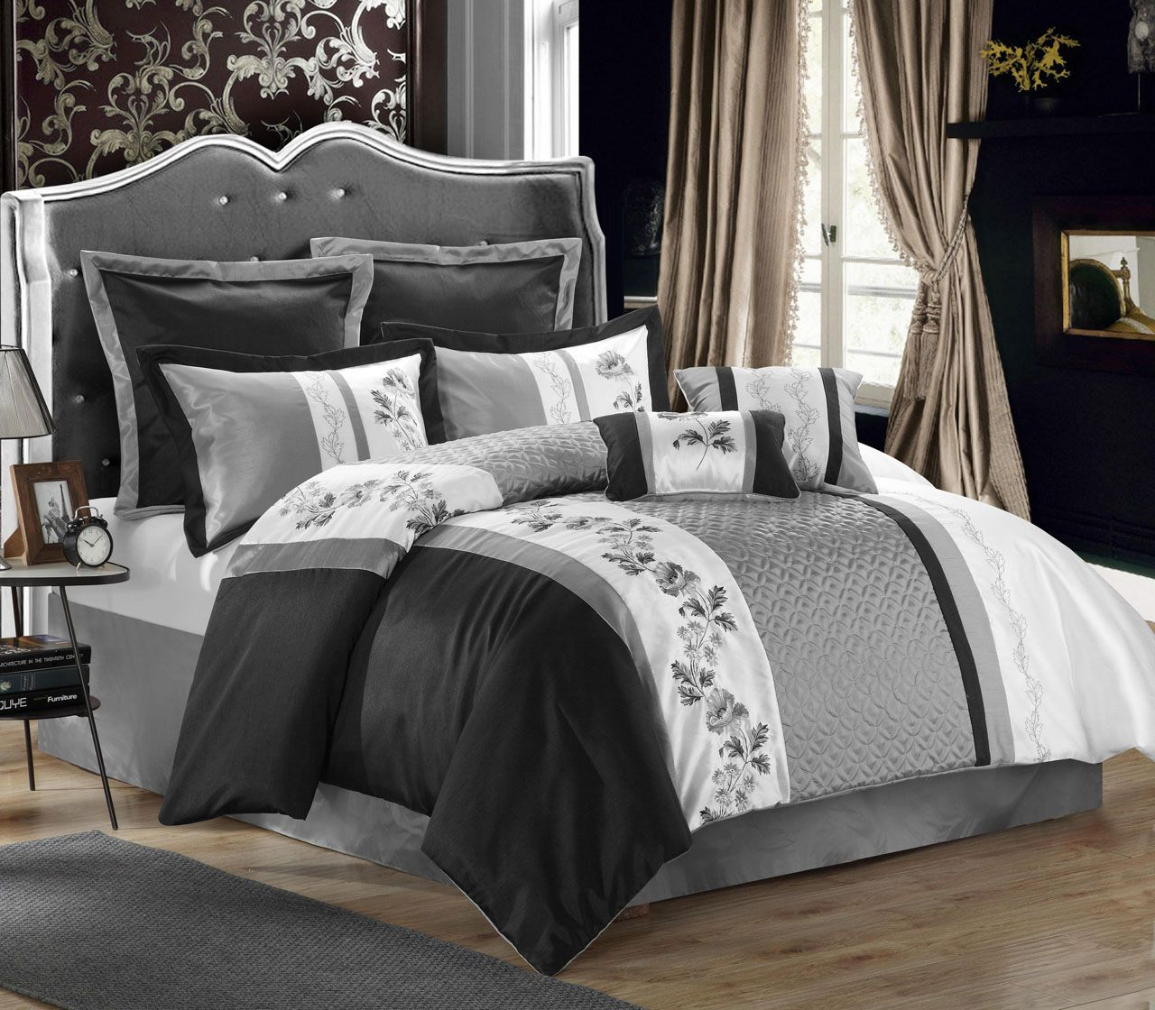 8 Piece Serbia Black Gray White Comforter Set White And Gold Bedding Black Comforter White Bedroom Set