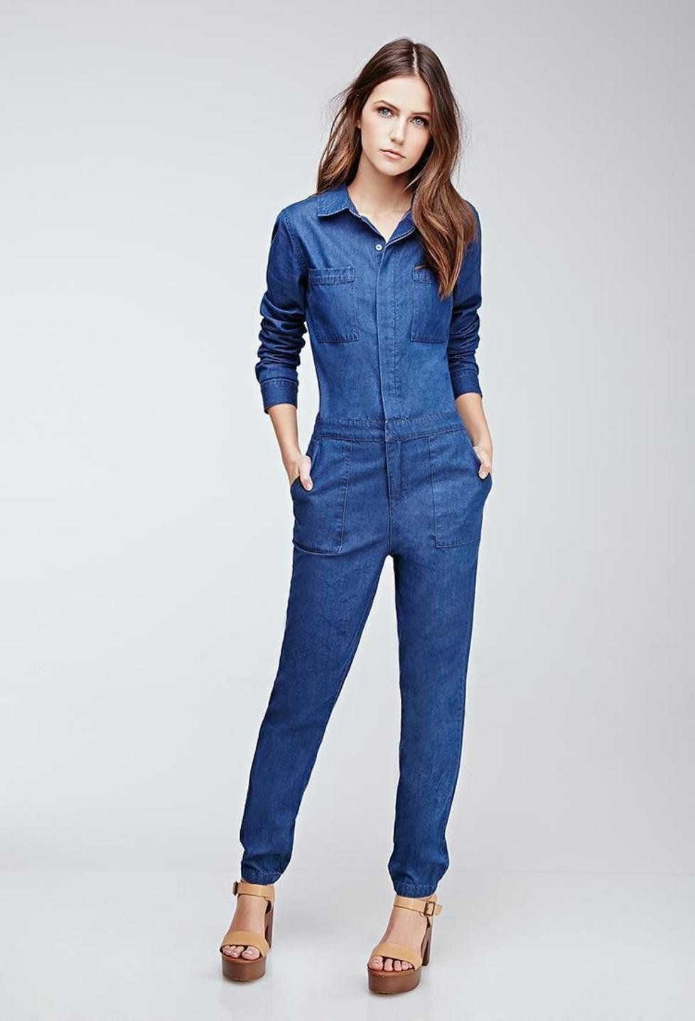 collared cotton chambray jumpsuit forever 21. Black Bedroom Furniture Sets. Home Design Ideas