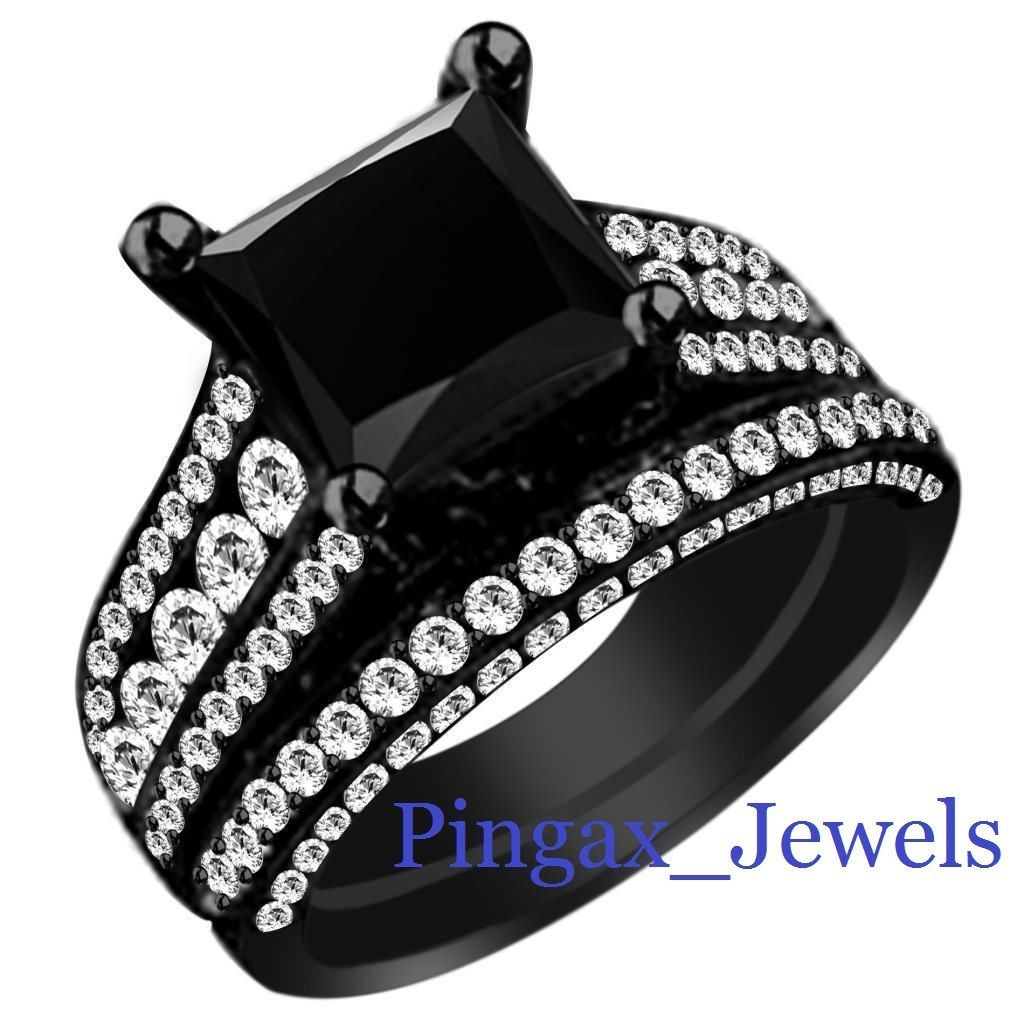 Gothic Black Diamond Bridal Set 334 Ct Princess Diamond Ring Black