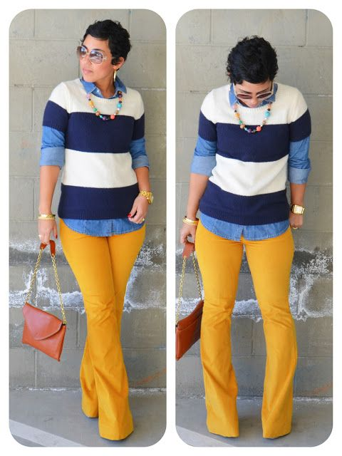 mimi g.  The yellow pants are not for me but i love the layers on top.