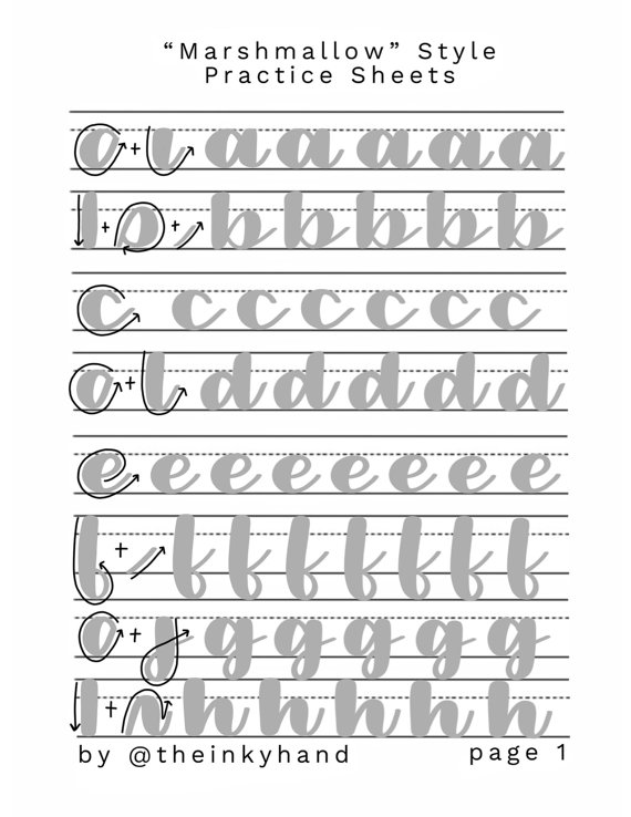 Marshmallow Style Brush Calligraphy Practice Sheet By Theinkyhand