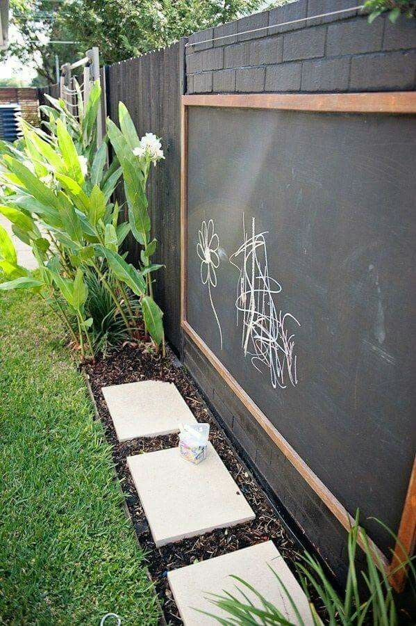 Mount A Chalk Painted Board To The Fence So Kids Can Unleash Their  Creativity Outdoors.
