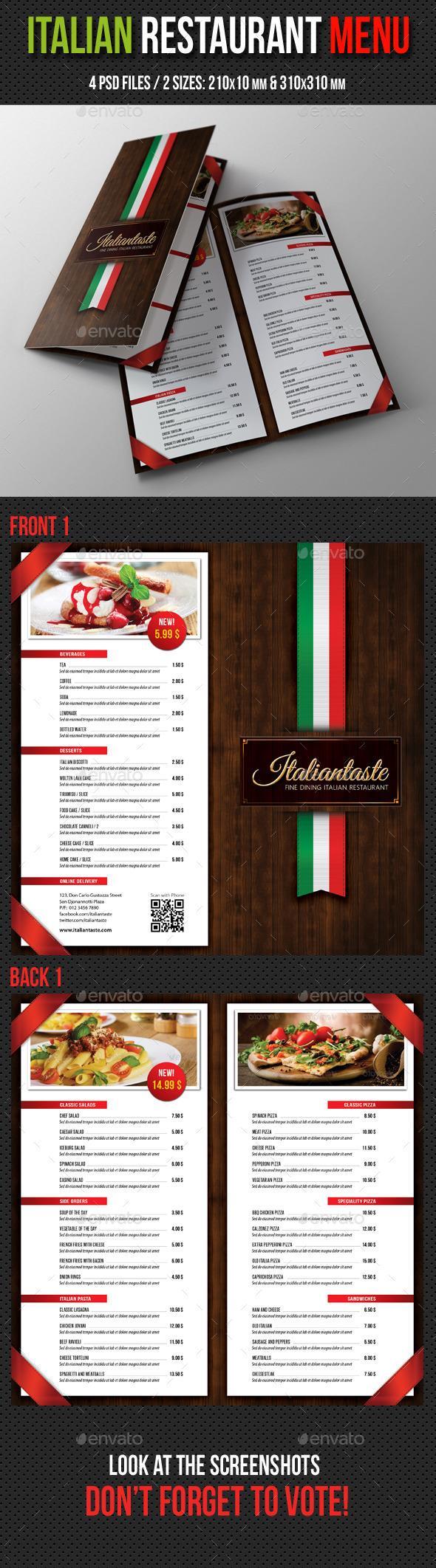 Italian Restaurant Menu Brochure | Restaurante, Menus restaurantes y ...